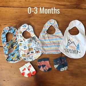 0-3 Baby Boy Bibs & Socks Bundle